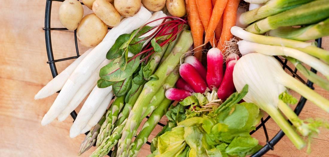 plate of fresh spring vegetables