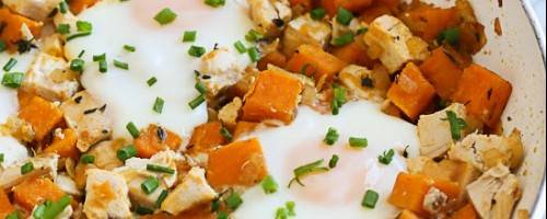 Healthy Reciepe with sweet potato and lots of protien with chicken and eggs