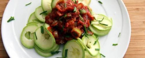 Zucchini Noodles with Leek-Tomato Sauce