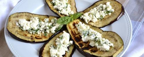 Grilled Eggplant with Basil Feta