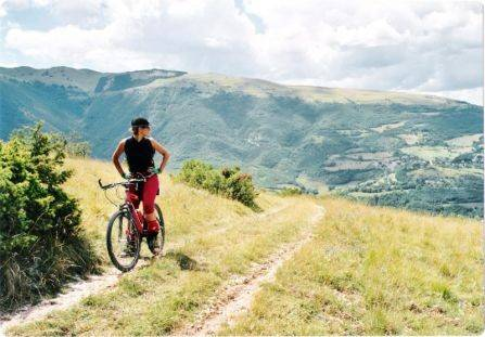 woman bicycling on a path with mountain background