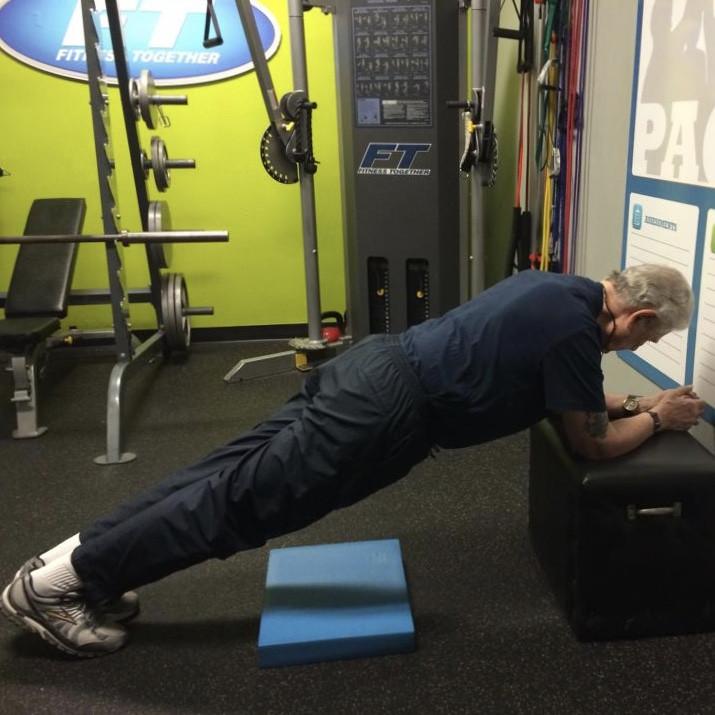 David performing a plank